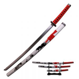 MOX4013226 300x300 - Samurai Katana Sword Set of 3 Red Wrap Handles Wht Scabbard