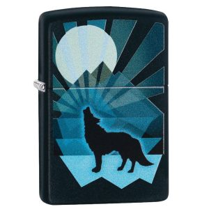 MOX4019246 300x300 - Zippo Matte Black Wolf and Moon Lighter