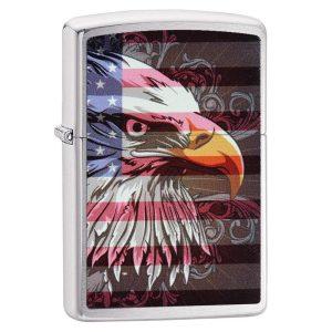 MOX4019250 300x300 - Zippo Brushed Chrome Eagle Flag Lighter