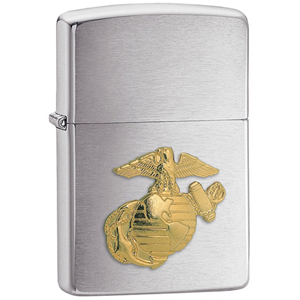 MOX9000742 - Zippo Brushed Chrome Marines Emblem Lighter