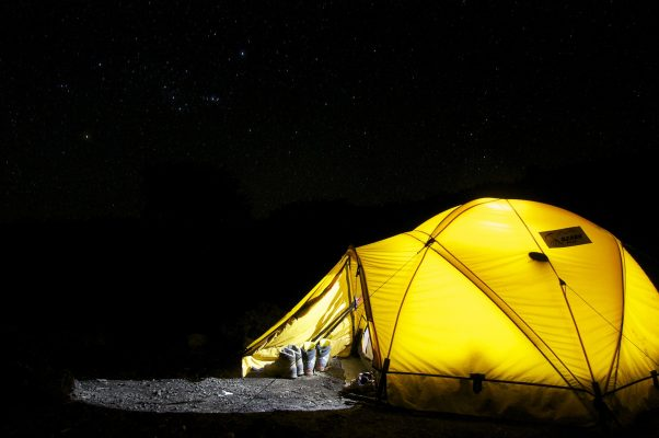 Yellow tent in the night