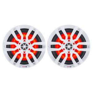 """CW84105 300x300 - DS18 HYDRO 8"""" 2-Way Marine Speakers w-RGB LED Lights 375W - White"""
