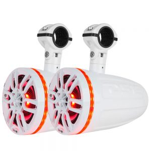"""CW84128 300x300 - DS18 HYDRO 8"""" 2-Way Wakeboard Pod Tower Speakers w-1"""" Compression Driver & RGB LED Lights - 540W - White"""