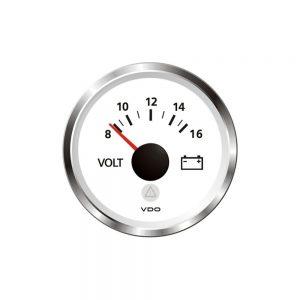 "CW84230 300x300 - VDO Marine 2-1-16"" (52mm) ViewLine - Voltmeter 8-16V - White w-Chrome Bezel"