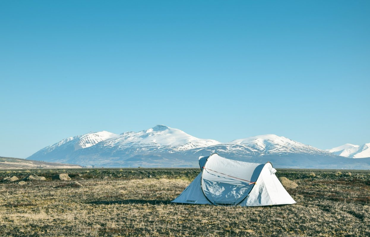 camping tent in a wilderness