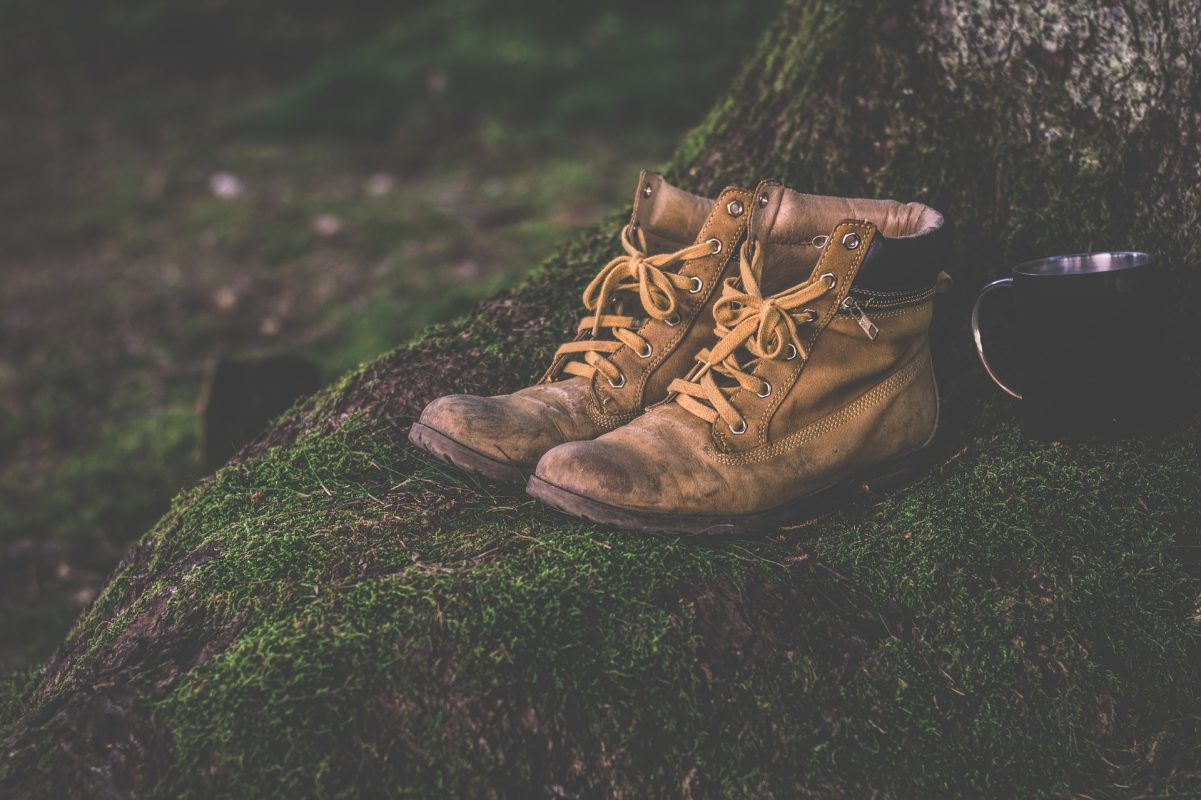 hiking boots on green grassy place