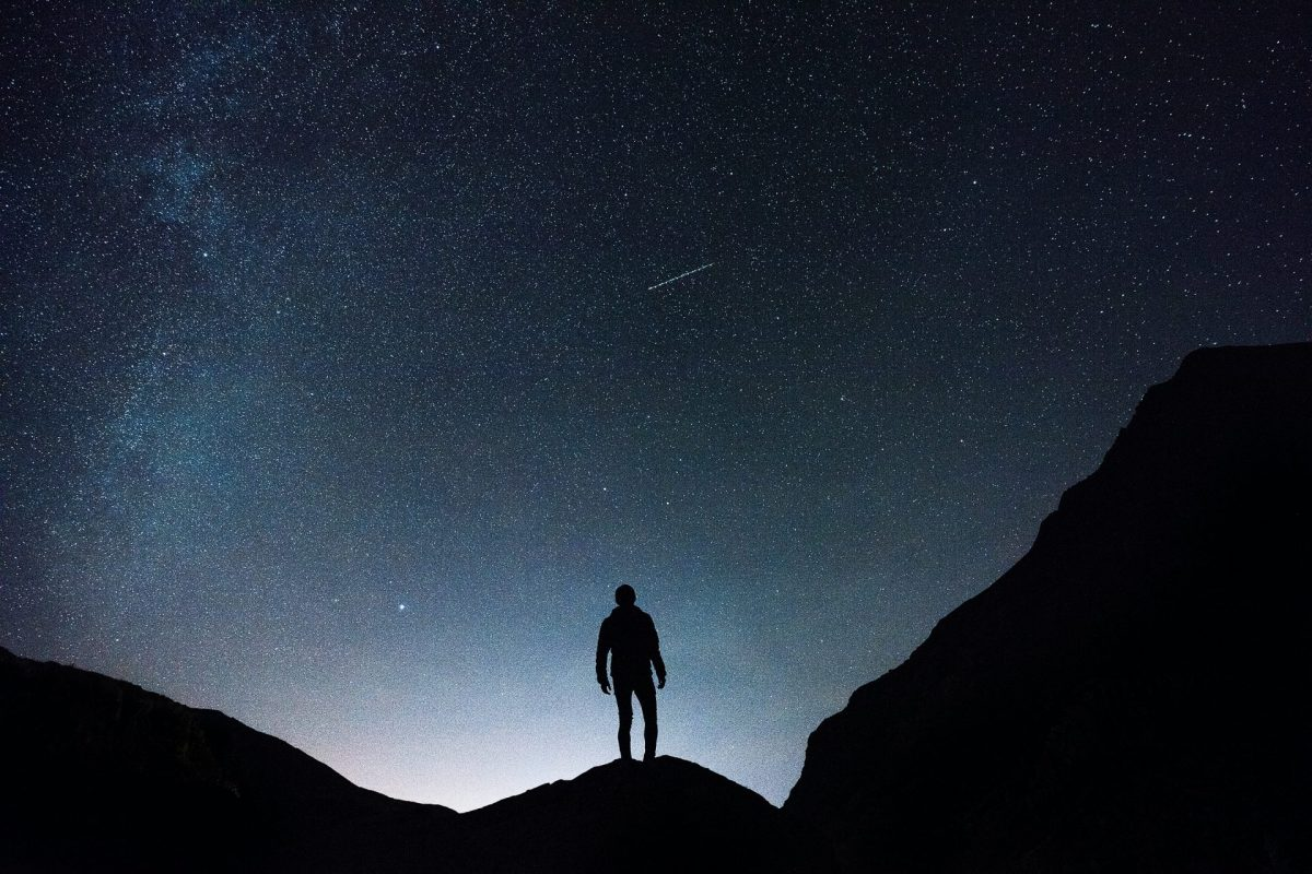 man going on a night hike