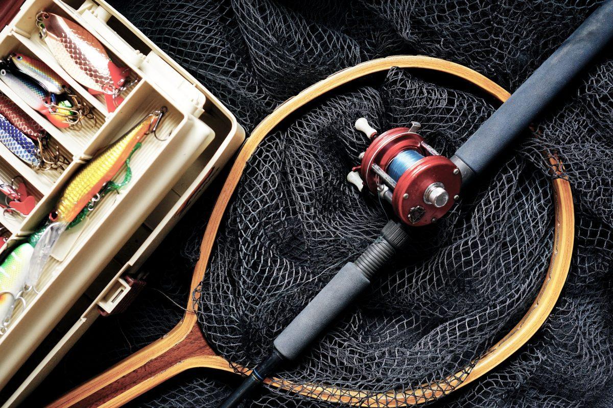 fishing rod in a boat