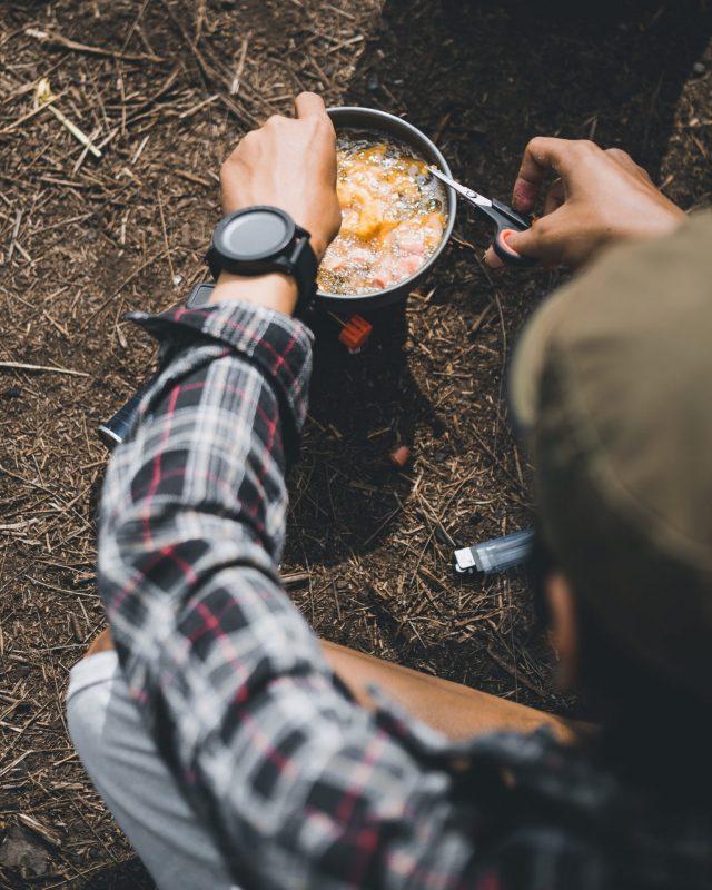 portable stove at a camp