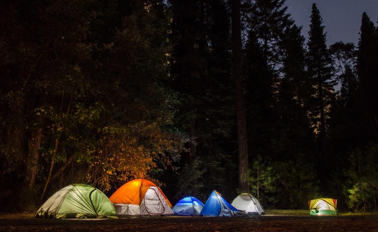 camping at nightfall